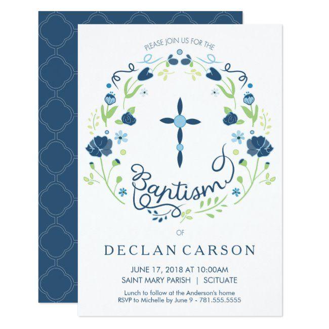 Christening Baptism Invitation Boys Invite Card #baptism #christening #card #invitation #invite