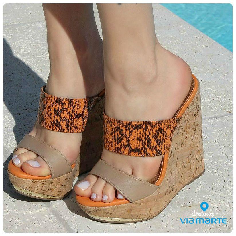 salto alto - heels - salto anabela - tangerina - Ref. 14-13629 -