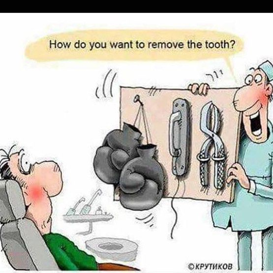 Dental humor removing a tooth