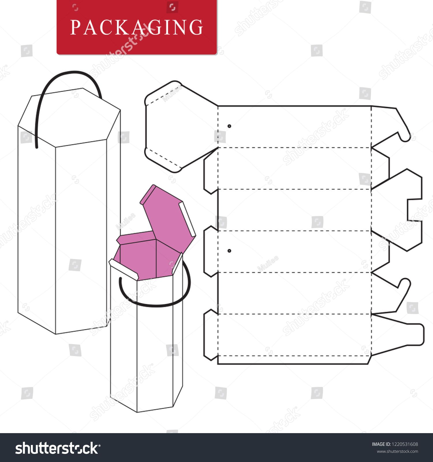 Vector Illustration Of Handle Box Package Template Isolated White Retail Mock Up Sponsored Ad Packaging Template Design Gift Box Template Box Template