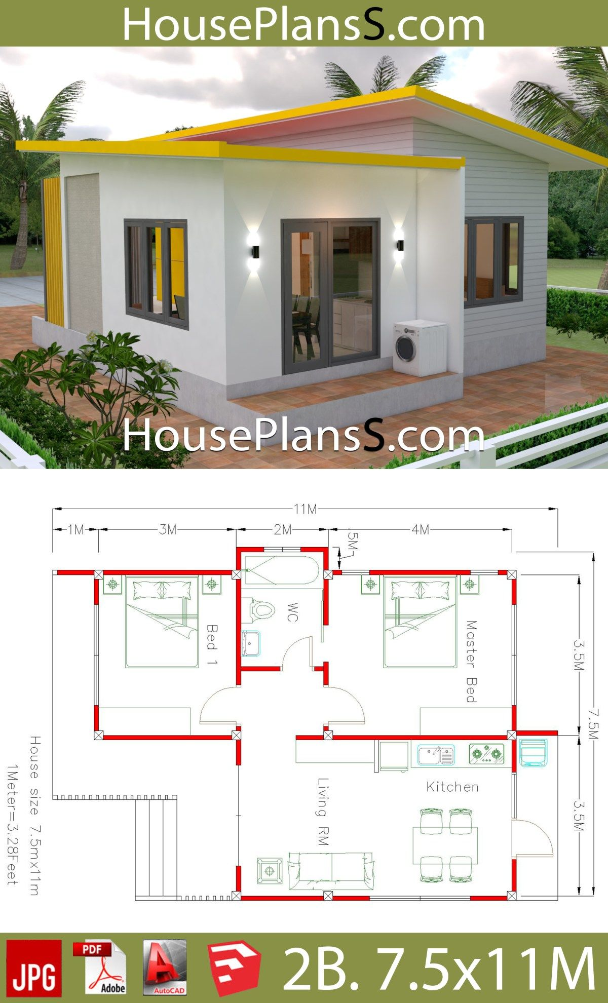 House Plans 7 5x11 With 2 Bedrooms Full Plans House Plans Sam Bungalow House Plans Bungalow House Design Small House Design Plans