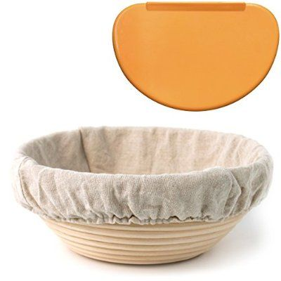 """Indigo True Company 8.5"""" Round Banneton Proofing Basket with Cloth Liner and Flexible Bowl Scraper for Shaping Dough"""