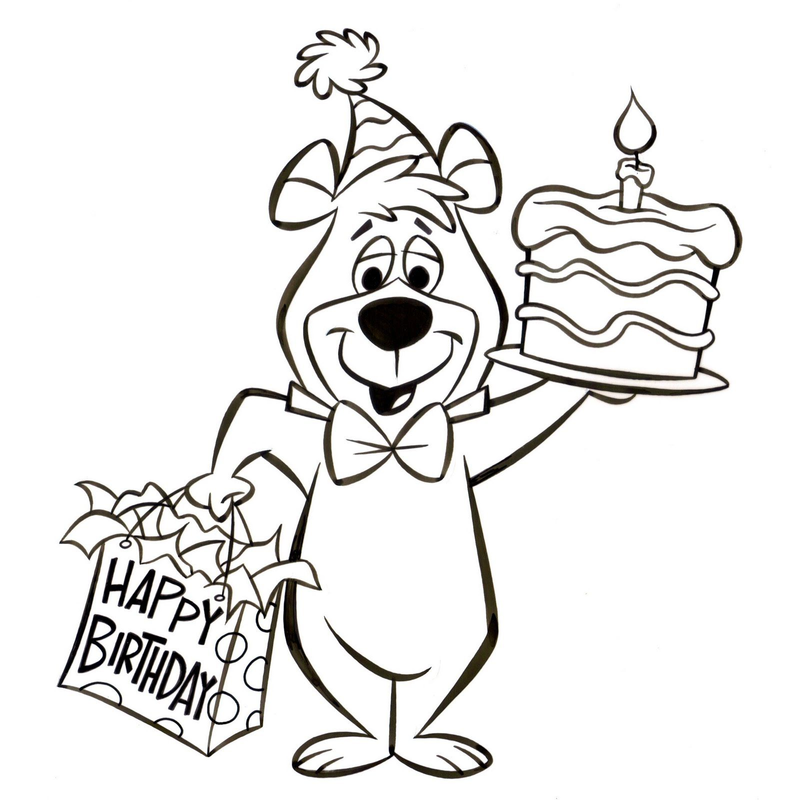 Yogi Bear Birthday Art With Images Bear Coloring Pages