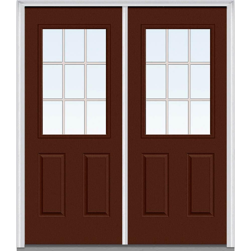 Milliken Millwork 66 In X 81 75 In Classic Clear Glass Gbg 1 2 Lite 2 Panel Painted Fiberglass Smooth Exterior Double Door Mmi Door