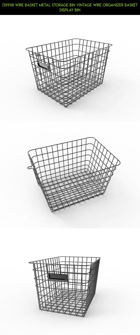 13x9x8 Wire Basket Metal Storage Bin Vintage Wire Organizer Basket ...
