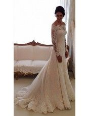 Elegant Floor Length A Line Off the Shoulder Lace Appliques Wedding Dress Long Sleeves Wedding Dress with Train