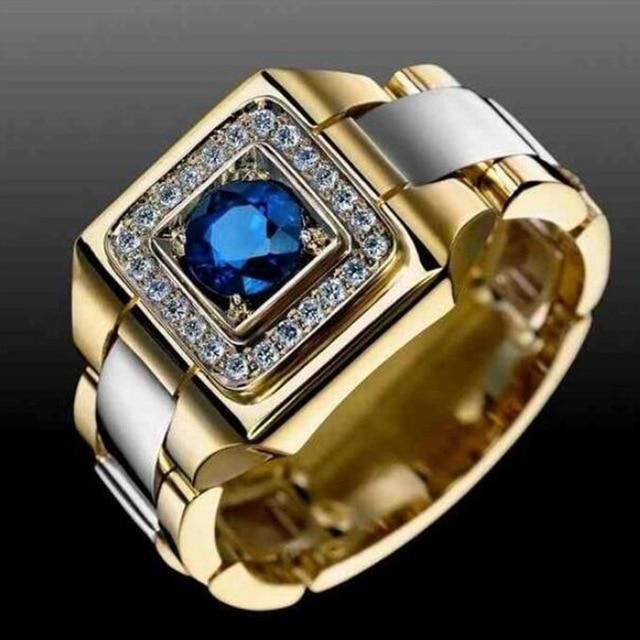 Huitan Party Men Rings Creative Watch Shaped Two Tone Design Rings For Men Wedding Ring With Size 6-14 Male Jewelry – 9 / Blue / Silver Plated