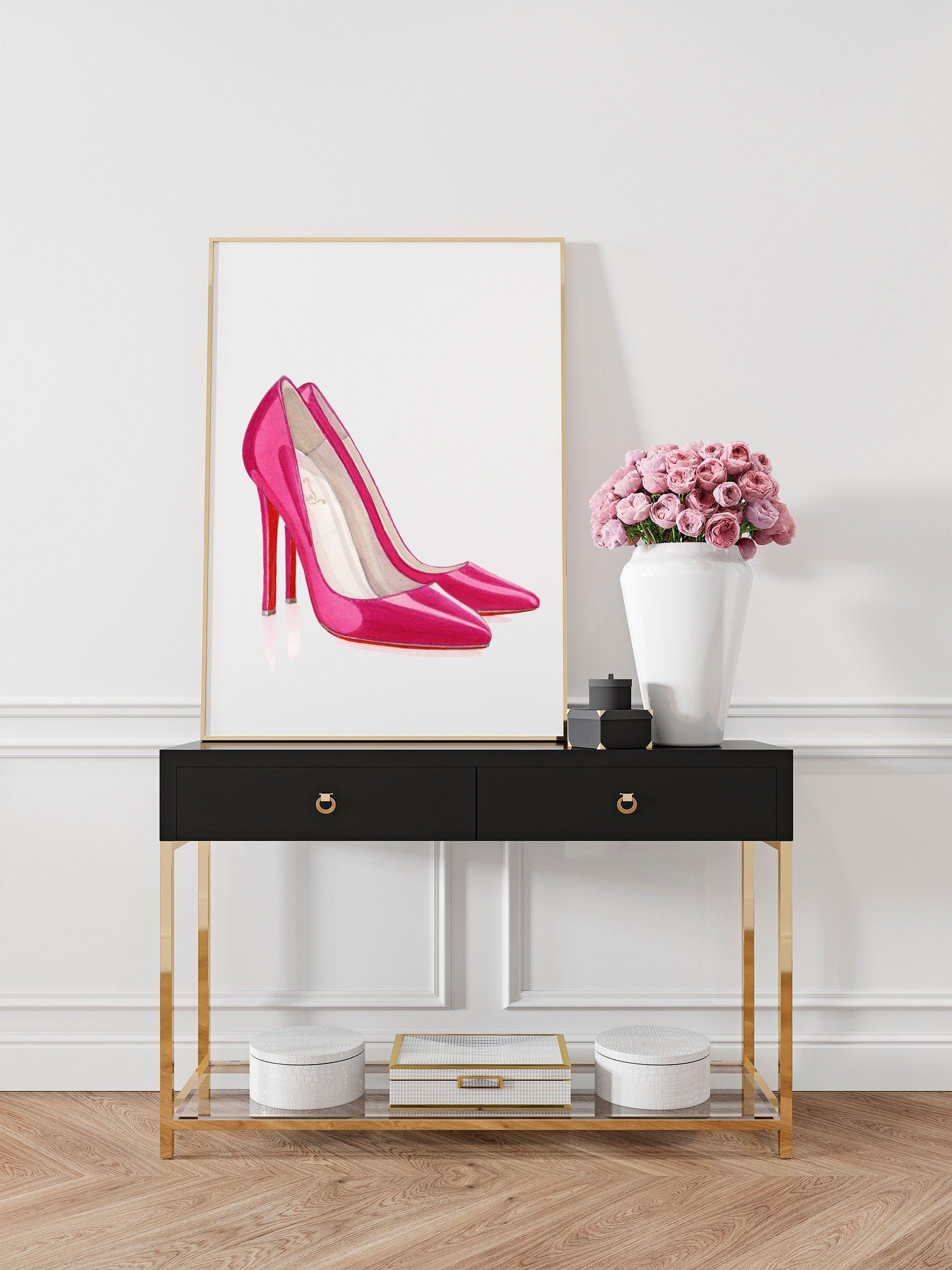 Fashion Wall Art Fashion Illustartion Hot Pink Wall Art Etsy Hot Pink Wall Art Girly Wall Art Louboutin Wall Art