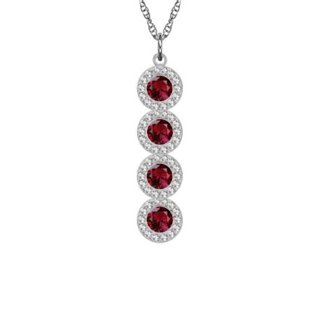 4-Stone Halo Necklace with Dazzling Garnets