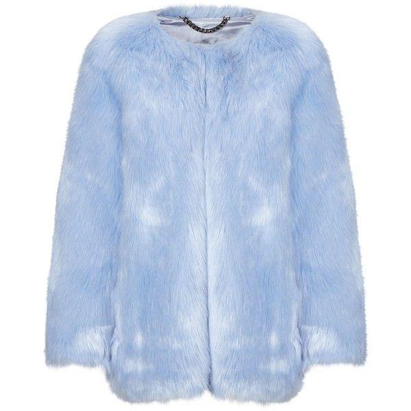 Thp Shop Baby Blue Faux Fur Coat Blue Faux Fur Coat Collarless Faux Fur Coat Cropped Faux Fur Coat
