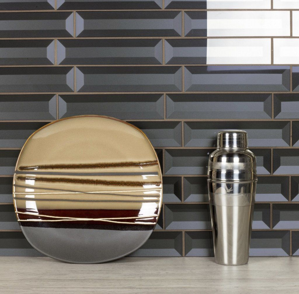 Metallic grey xud beveled glass subway tile in tile tiles