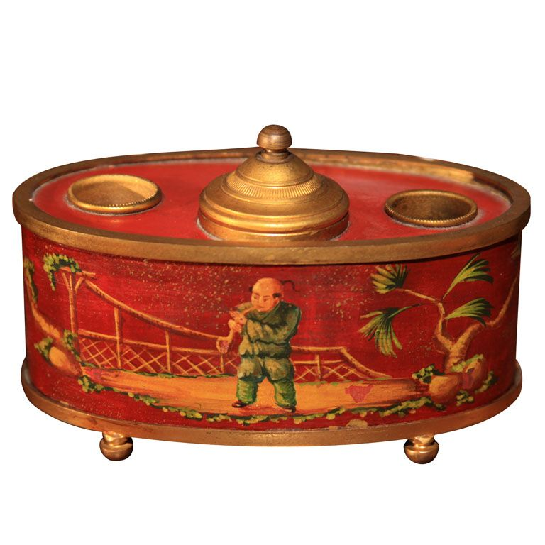 French tole inkwell  France  circa 1880-1900  A charming late 19th century French red told chinoiserie decorated double inkwell