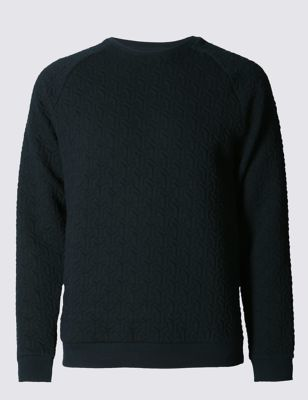 Tailored Fit Quilted Long Sleeve Polo Sweatshirts