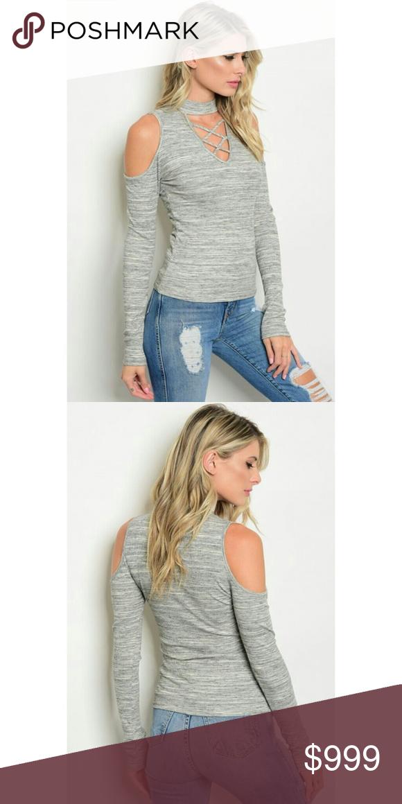 Grey Ivory Cold Shoulder Top