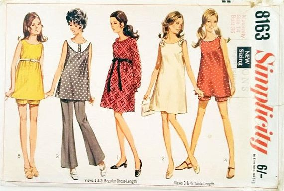 Simplicity #8163 Vintage Maternity Dress and Tunic or Mini-Dress ...