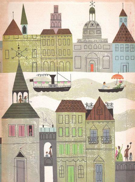 Vintage Fairy Tale Illustration Rainbow