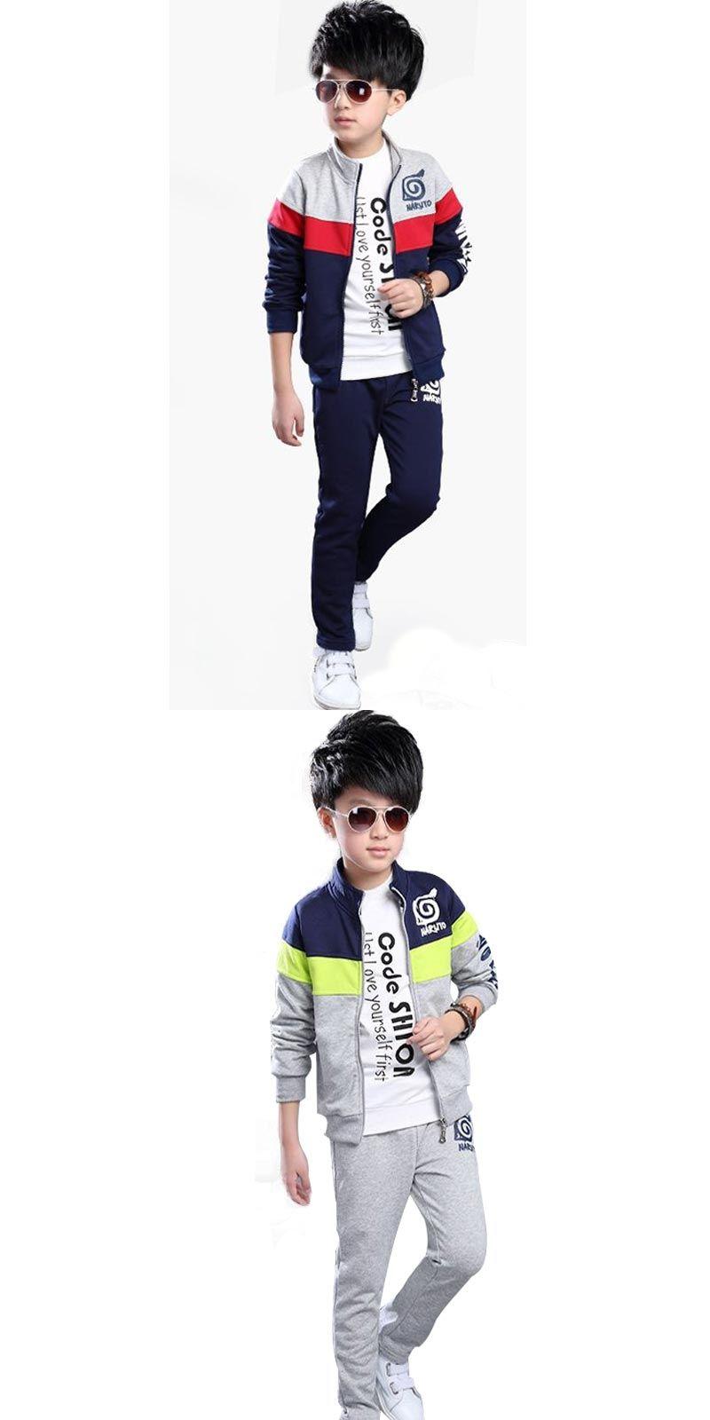 54d0ca71d4f Teenage Boy Clothes Sets Children Costume Boys Clothing Boutique Kids Suit  Zipper Tracksuit Coat+Pants 2 Color 5-12 Year Old