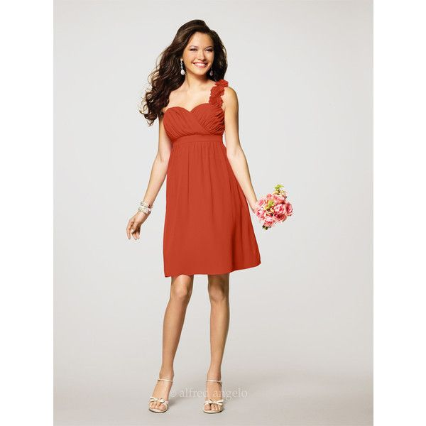 Alfred Angelo Chiffon One Shoulder Dress In Persimmon