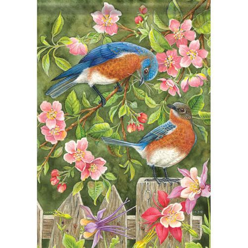 'Bluebirds and Fence' decorative flag. Also features pink apple blossoms and columbine.