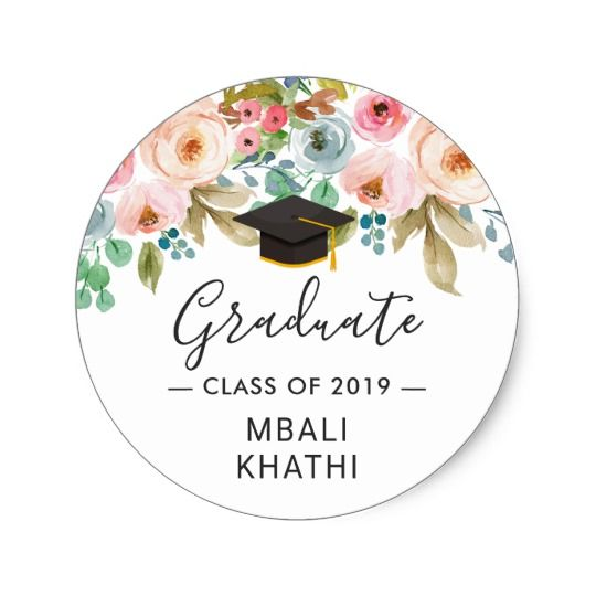 Photo of Watercolor Chic Floral Graduate Hat Graduation Classic Round Sticker | Zazzle.com