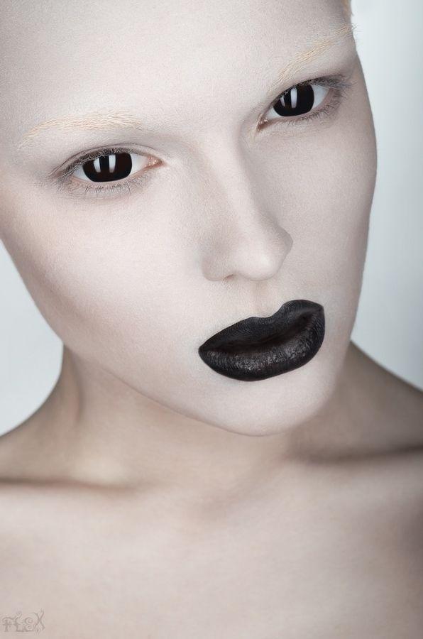 """Genuine"" by Stanislav Istratov. Editorial make-up. Black lips and alabaster skin. Alienesque. Cyborg look."