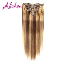 Alishow Clip In Human Hair Extensions Straight Full Head Set 7pcs 100g Machine Made Remy Hair Clip Ins 100% Human Hair Extension #humanhairextensions