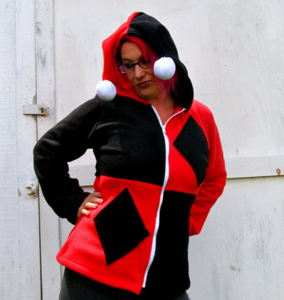 Harley Quinn costume Cosplay fleece hoodie by thegeekgarden
