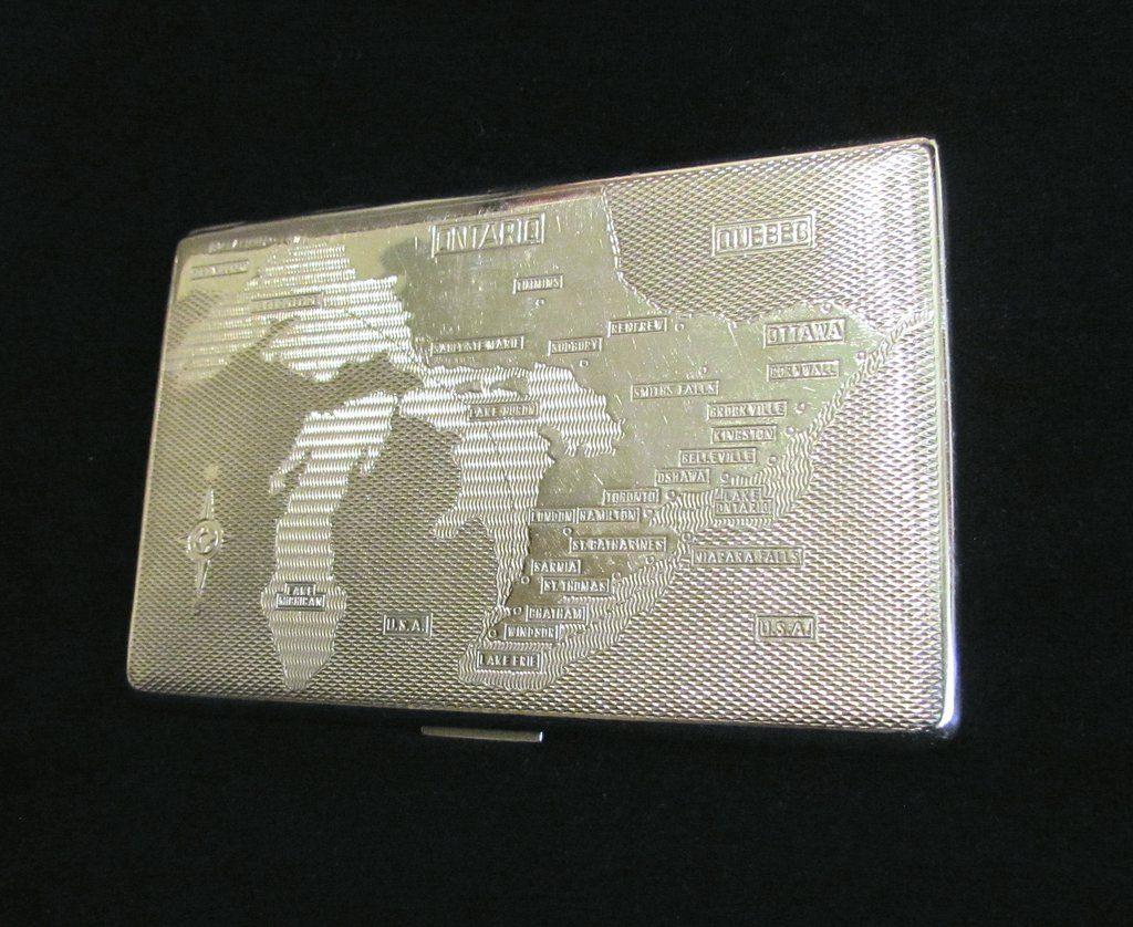 1940s Cigarette Case Ontario Canada Map Har-Bro England Business ...