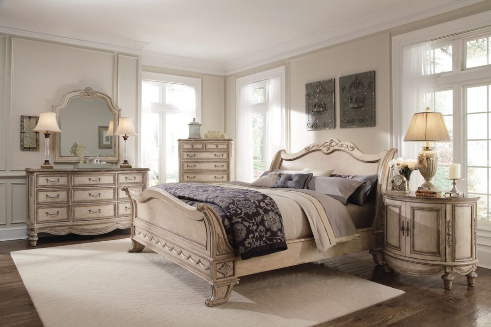 Lovely Schnadig Empire Cane King Sleigh Bed and Bedroom Set from ...