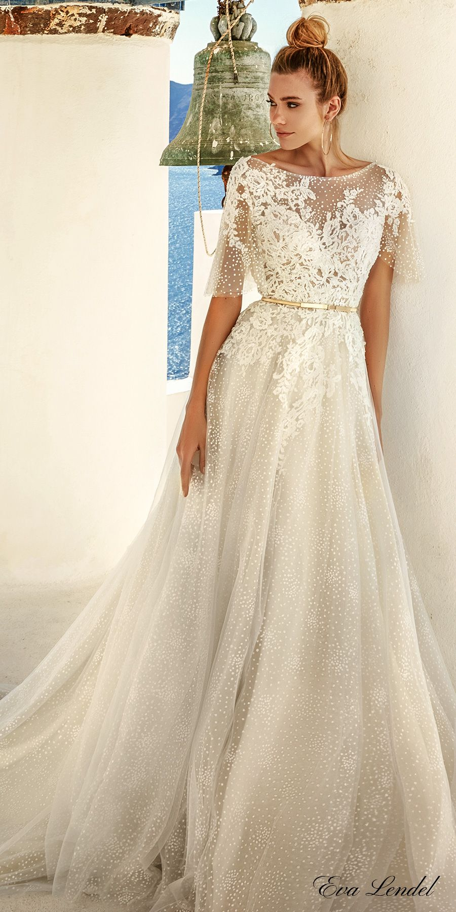 Eva Lendel 2017 bridal half cape sleeves illusion bateau sweetheart  neckline heavily embellished bodice romantic a line wedding dress open v  low back chapel ... fde60c2554a3c