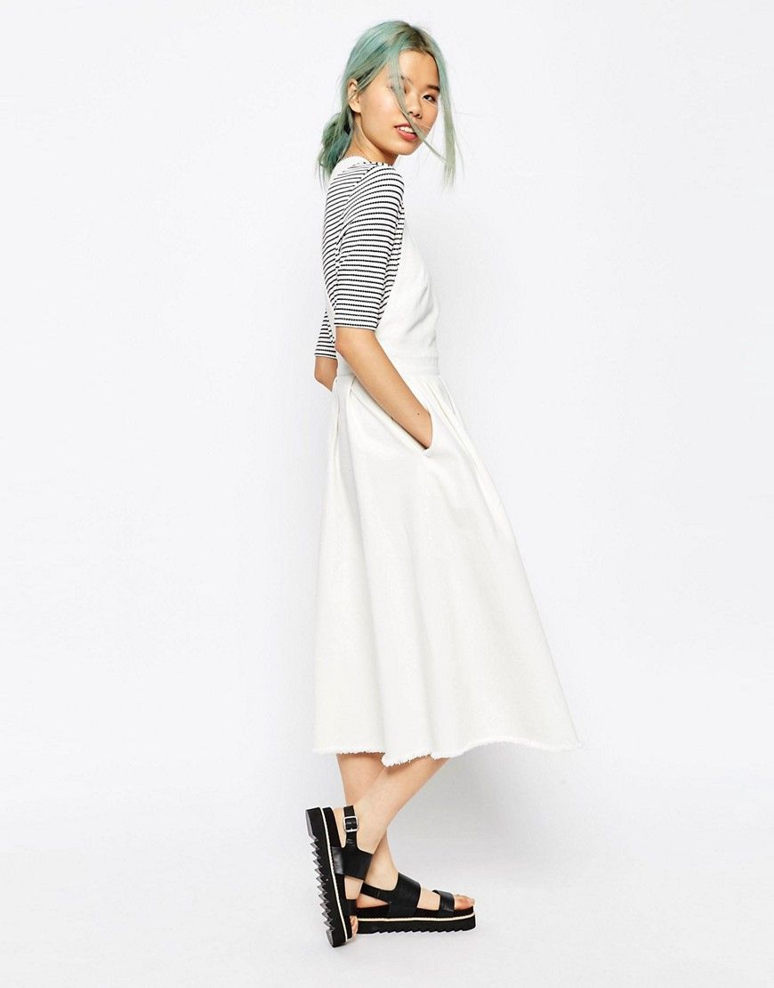 696a333684 Image 4 of ASOS Denim Cross Back Midi Dress In Off White With Raw Hem