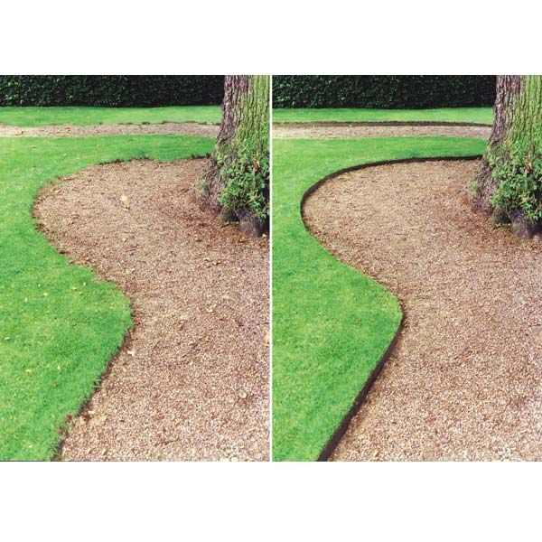 This is a good picture of the difference between no hidden metal edging and hidden metal edging. Gravel and rock edged garden paths - Google Search