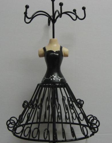 Black Metal Jewelry Holder Ladies Bustier Dress Form Silver