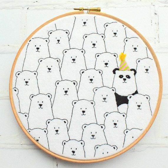 Party Panda Hoop Hand Embroidery Pattern Pdf download.  #embroidery #handstitch #panda #ad #embroiderypatternsbeginner