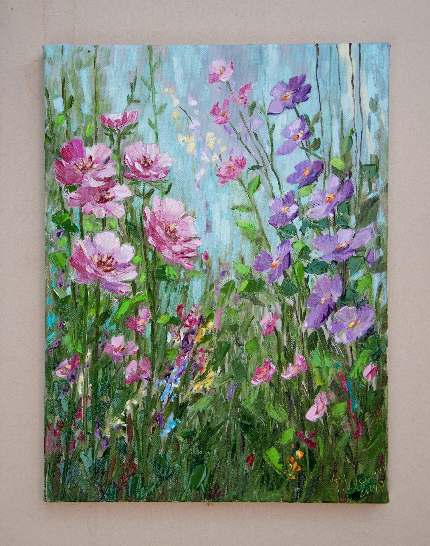 Original art purple flowers painting flowers acrylic painting purple flowers art