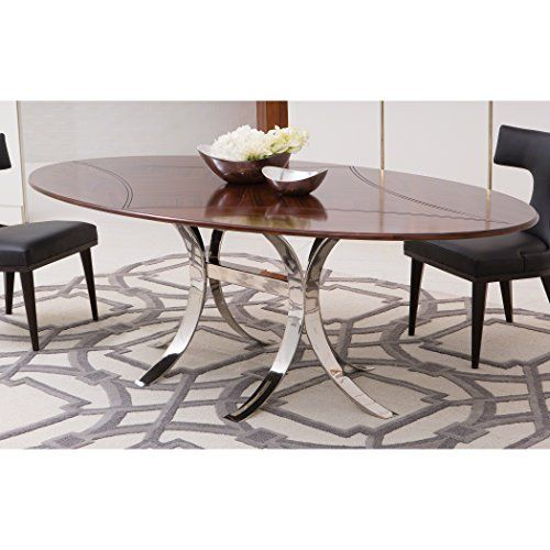 Global Views Santos Oval Dining Table W Stainless Steel Base