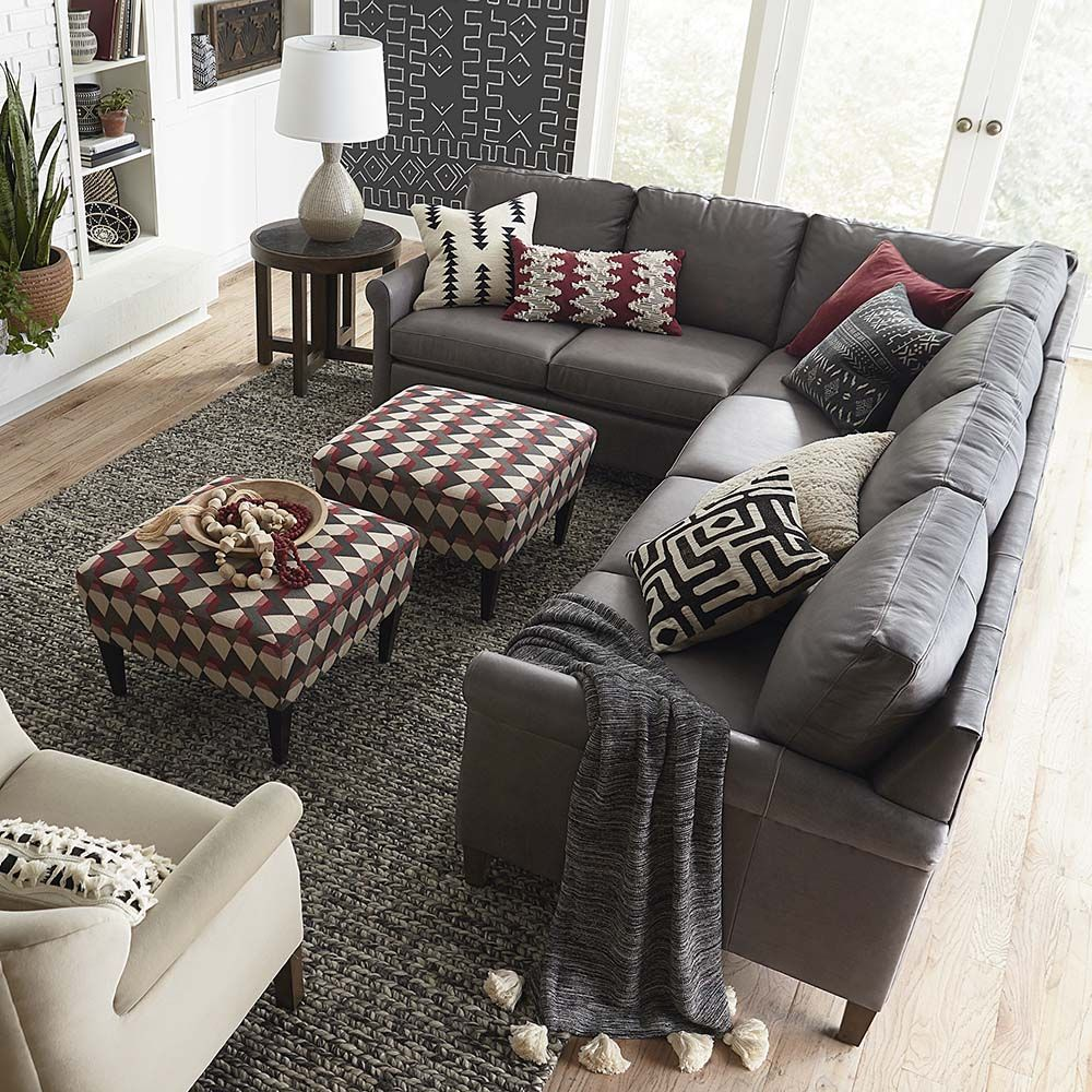 wellington leather lshaped sectional  l shaped living