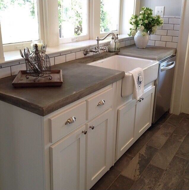 Attractive In Love With Concrete Countertops And Subway Tile