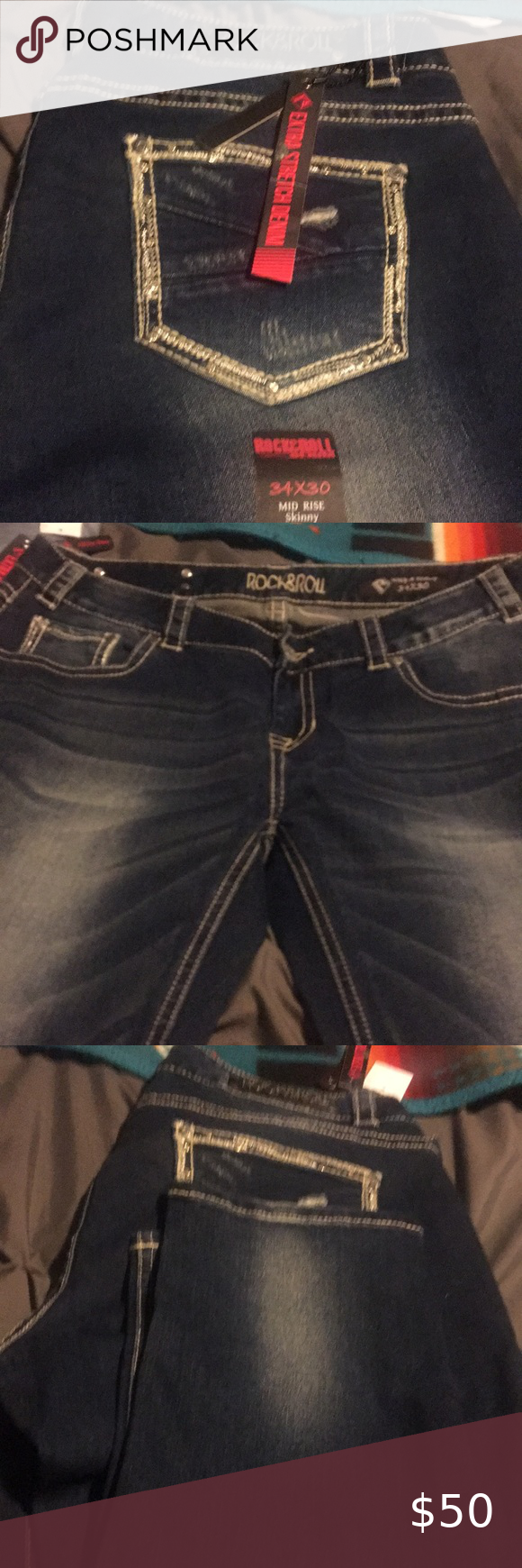 Rock and roll jeans Rock 'n' roll jeans brand new with the tags on them size 34×30 mid rise skinny Rock & Roll Cowgirl Jeans Skinny #rockandrolloutfits