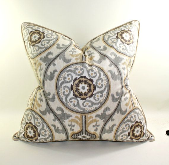 Medallion Pillow Cover Cushion Toss Pillow Gray by trendypillows, $45.00