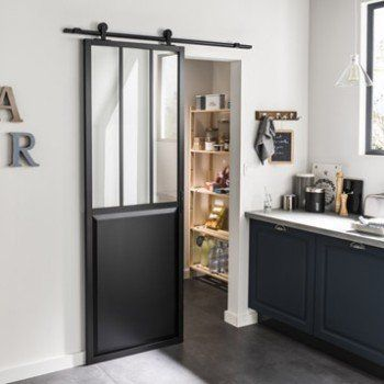 Ensemble porte coulissante Atelier alu verre clair avec rail Bolero - kit pour porte coulissante placard
