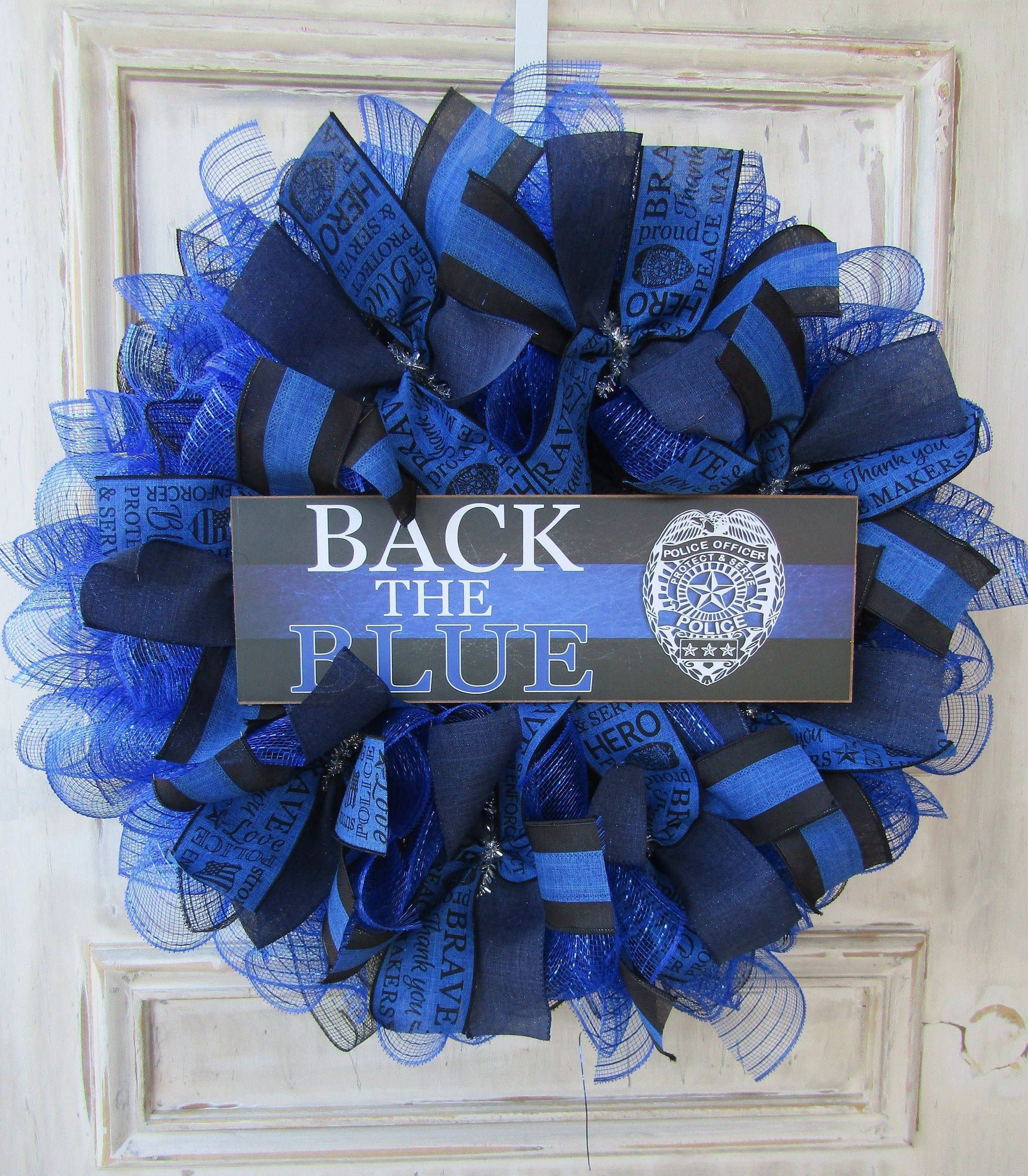 Police Appreciation Law Enforcement Bow; Royal Blue White