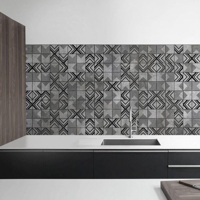 Losas geom tricas grises vinilo para muebles suelos y - Vinilos para azulejos ...