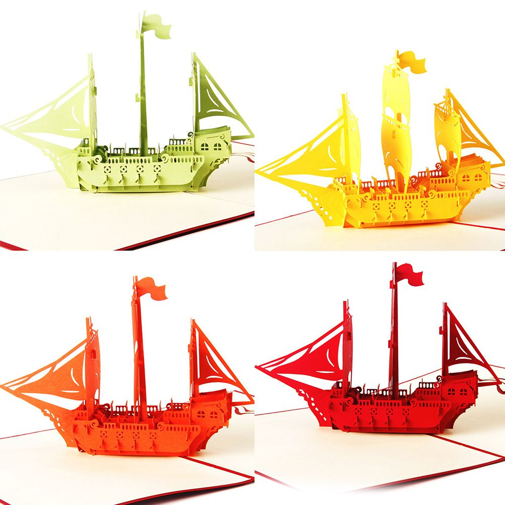 2016 Hot Sale Ship Greeting Card 3d Pop Up Cards Happy Birthday