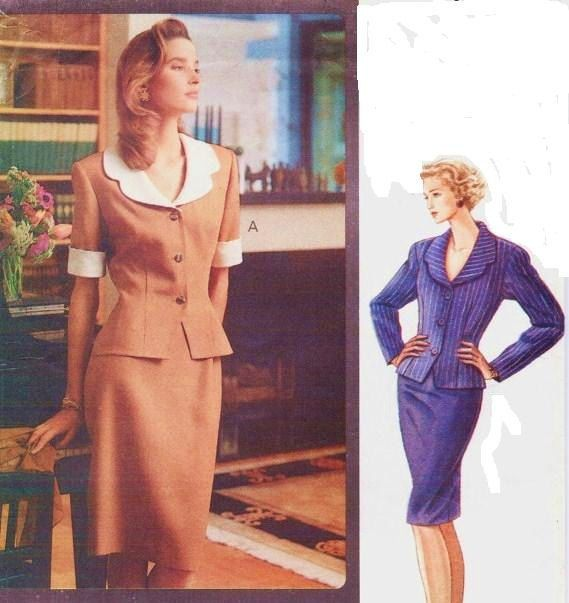 90s Very Easy Vogue Classics Sewing Pattern 7745 Womens Peplum Top ...
