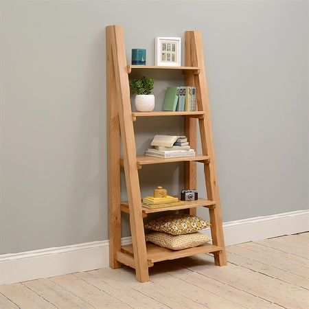 Vancouver Oak Ladder Bookcase 721 061 Quality Wooden Furniture At Great Low Prices From Pinesolutions Co