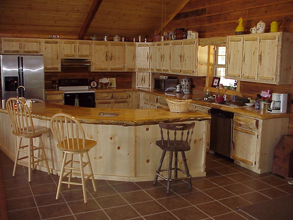 Log Home Kitchen Cabinets | Boxes, Euro Style Drawer Slides And Log Trim  Give Our Cabinets The Log ... | Landscaping Ideas | Pinterest | Casa, ...