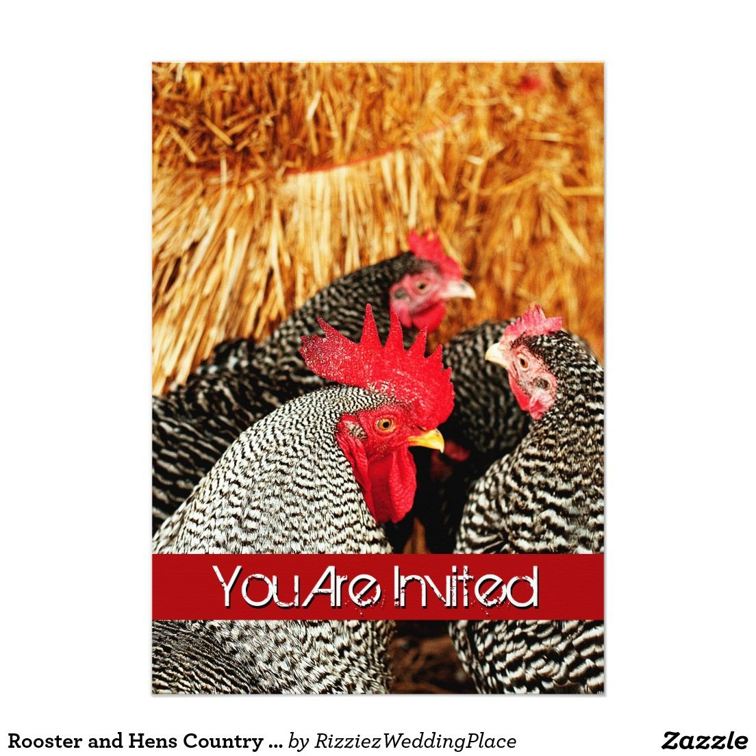 Rooster and Hens Country Wedding Invitations | Country wedding ...