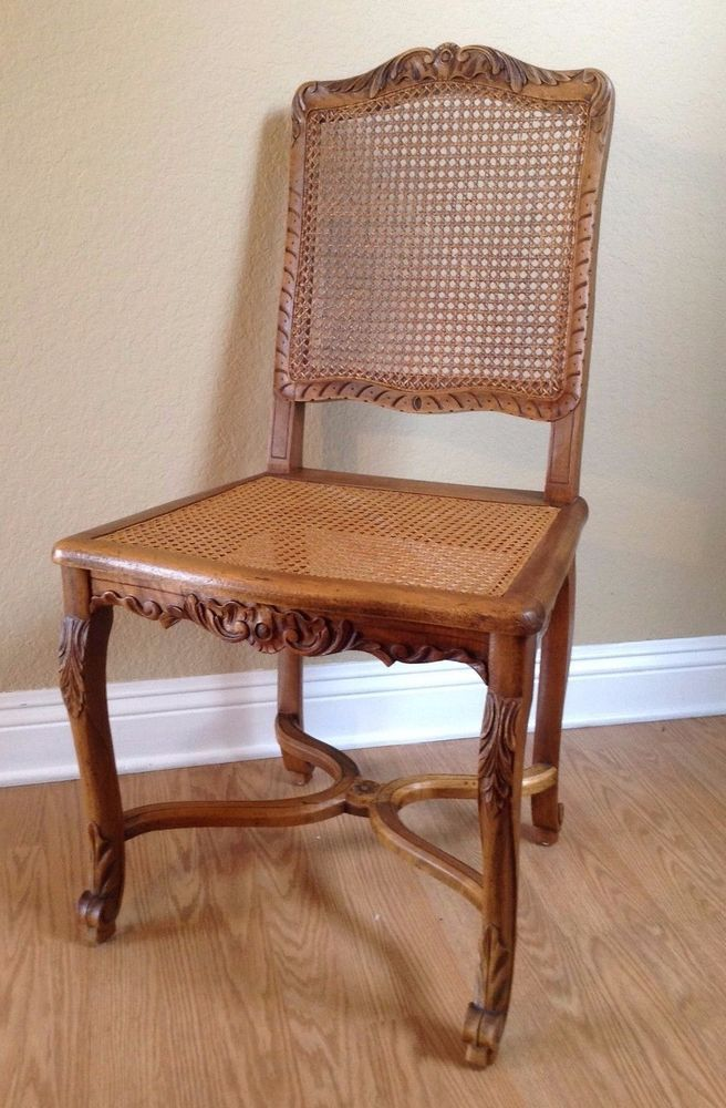 Great Cane Back Chair Vintage French Regency