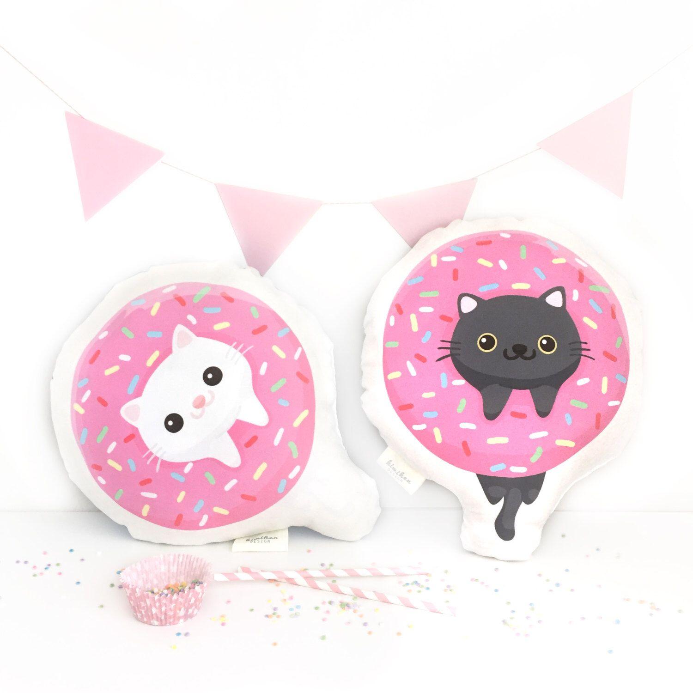Cat pillows handmade pink color donut cat pillow pet